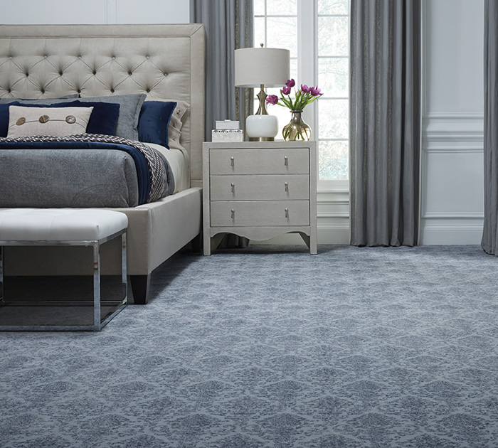 Coles Fine Flooring | Blue patterned carpet bedroom