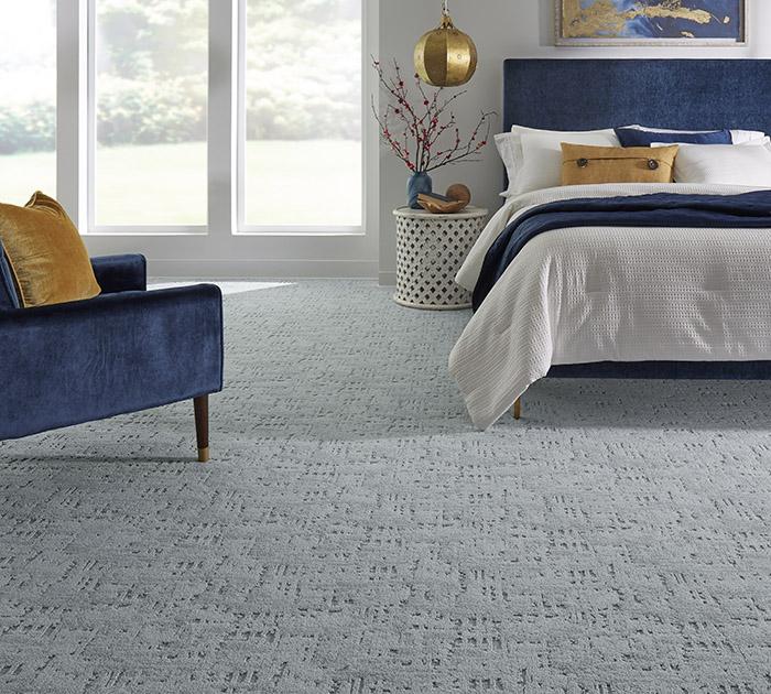 Coles Fine Flooring | blue patterened carpet bedroom