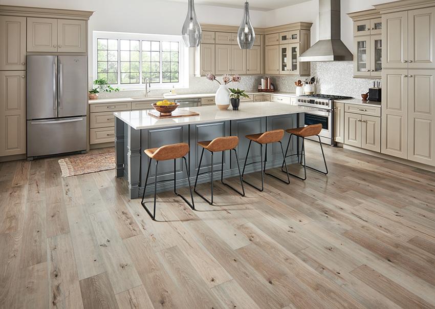Coles Fine Flooring | White kitchen with laminate floor