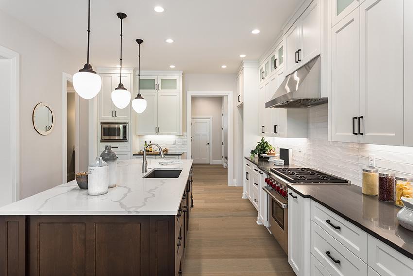 Coles Fine Flooring | taupe tone kitchen hardwood