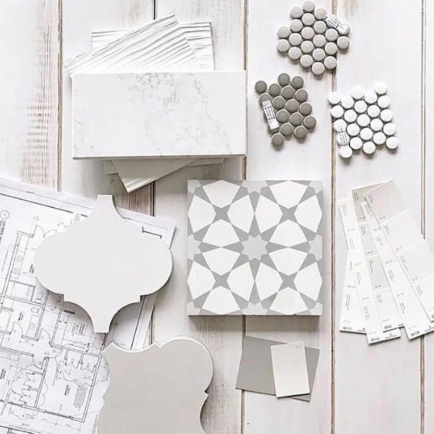 Coles Fine Flooring | Tile flatlay grey and white