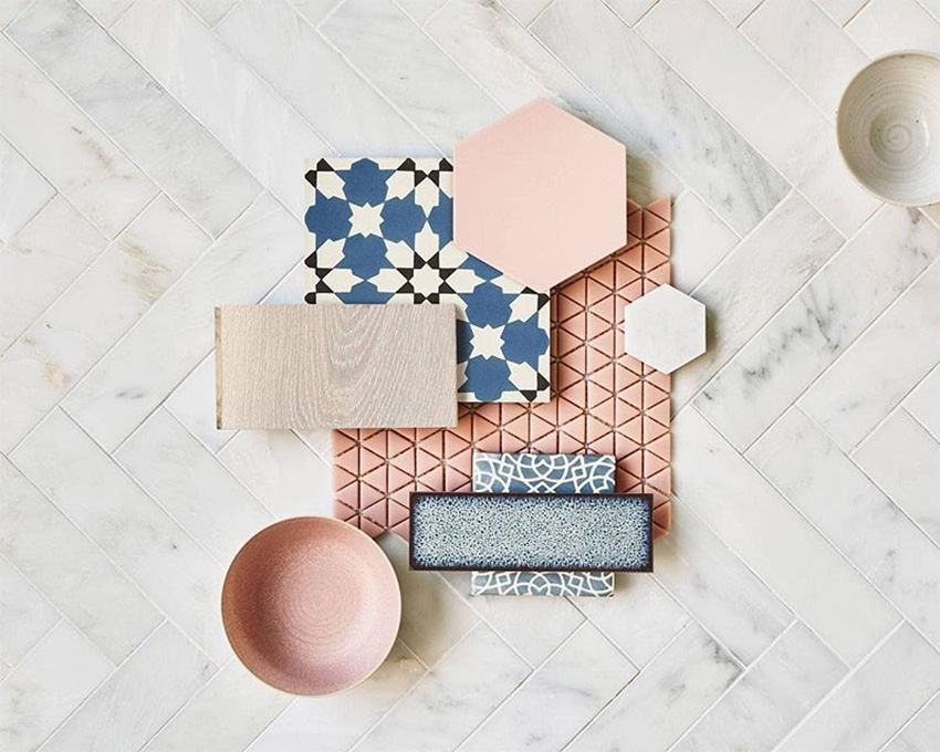 Coles Fine Flooring | Tile flatlay pink and blue