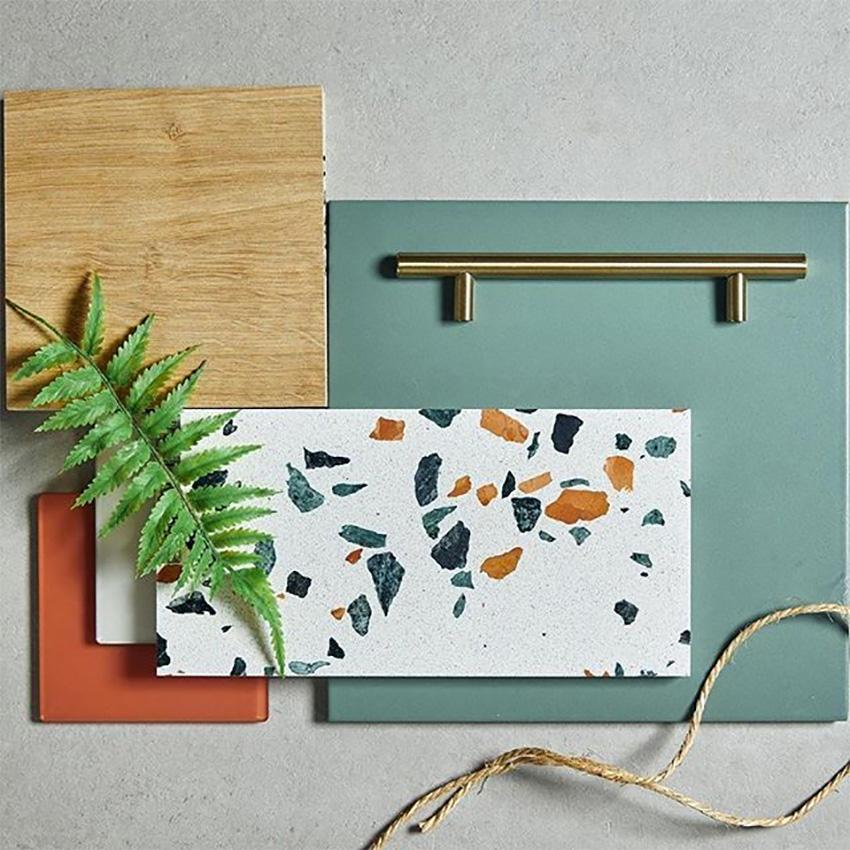 Coles Fine Flooring | Tile flatlay terazzo green and orange