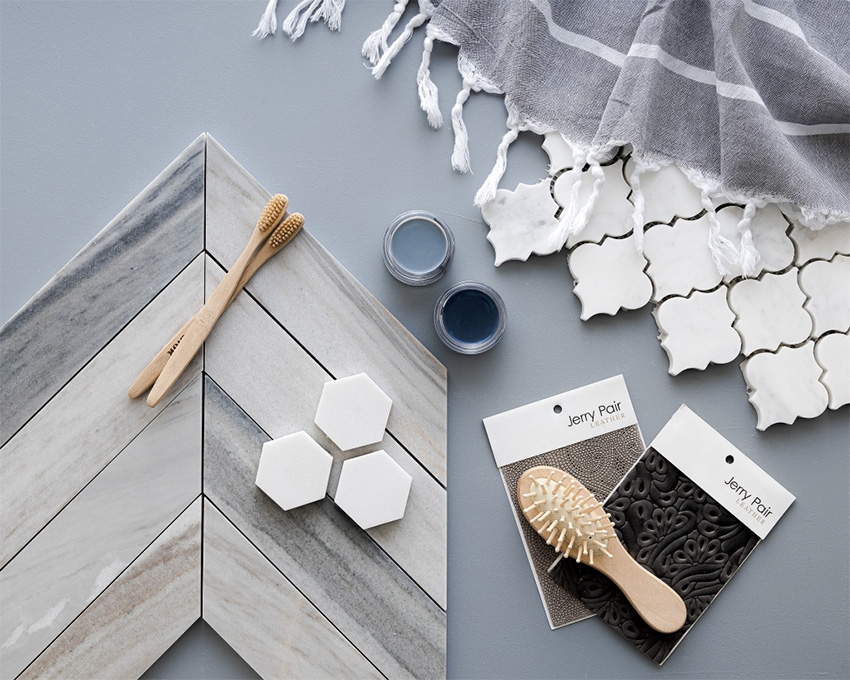Coles Fine Flooring | Tile flatlay blue and grey