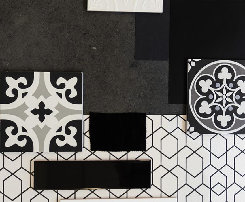 Coles Fine Flooring | Tile flatlay black and white
