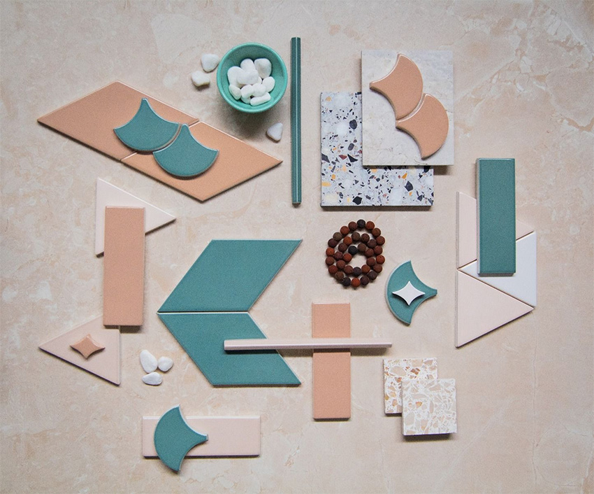 Coles Fine Flooring | Tile flatlay pink and teal